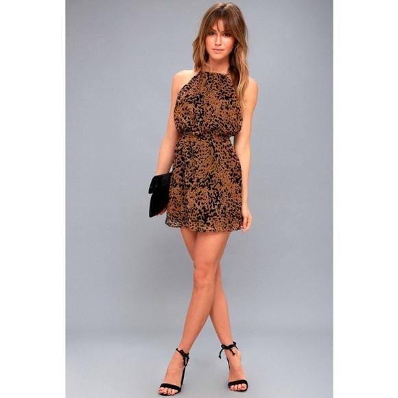 840044b7c INTENTION BROWN LEOPARD BURNOUT VELVET DRESS